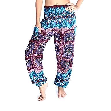 c29278354fb4d Boho Pants Harem Yoga Pants for Woman Bohemian Beach Pants (Medium,  Blooming Red)