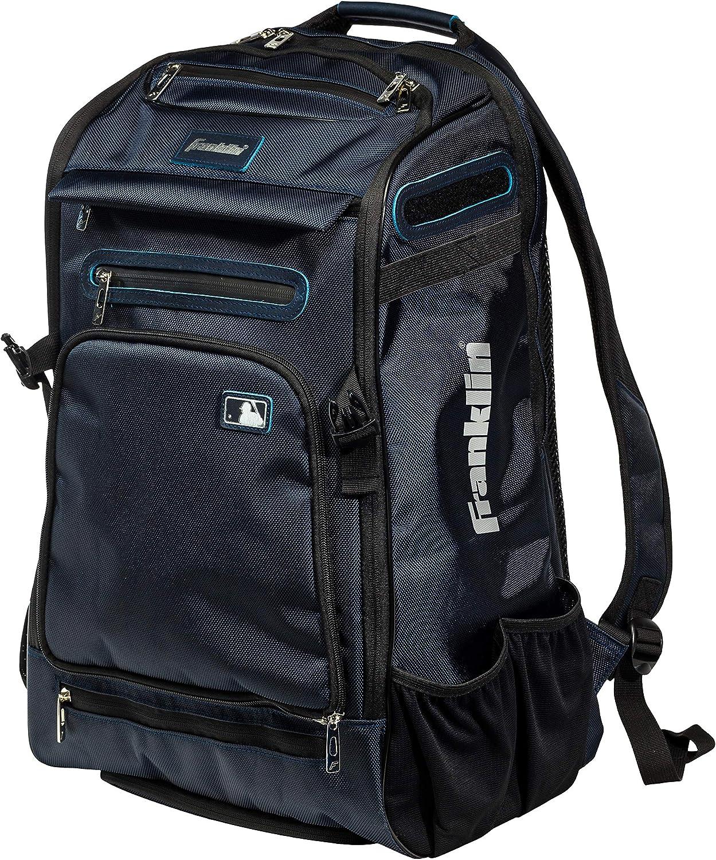 Franklin Sports MLB Traveler Elite Baseball Backpack – Baseball Bag or Softball Backpack – Stores Batting Glove, Helmet, Cleats and More - Water-Resistant Youth Baseball Bag – Premium Batpack