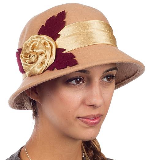 5cdcd1198 Sakkas Farrah Vintage Style Wool Cloche Hat