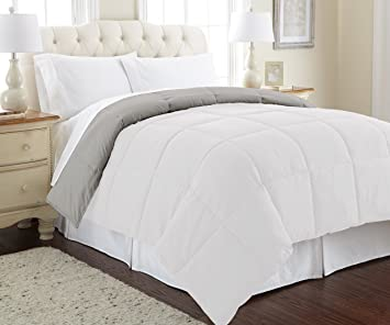 Amrapur Overseas | Goose Down Alternative Microfiber Quilted Reversible Comforter / Duvet Insert - Ultra Soft Hypoallergenic Bedding - Medium Warmth for All Seasons - [Queen]