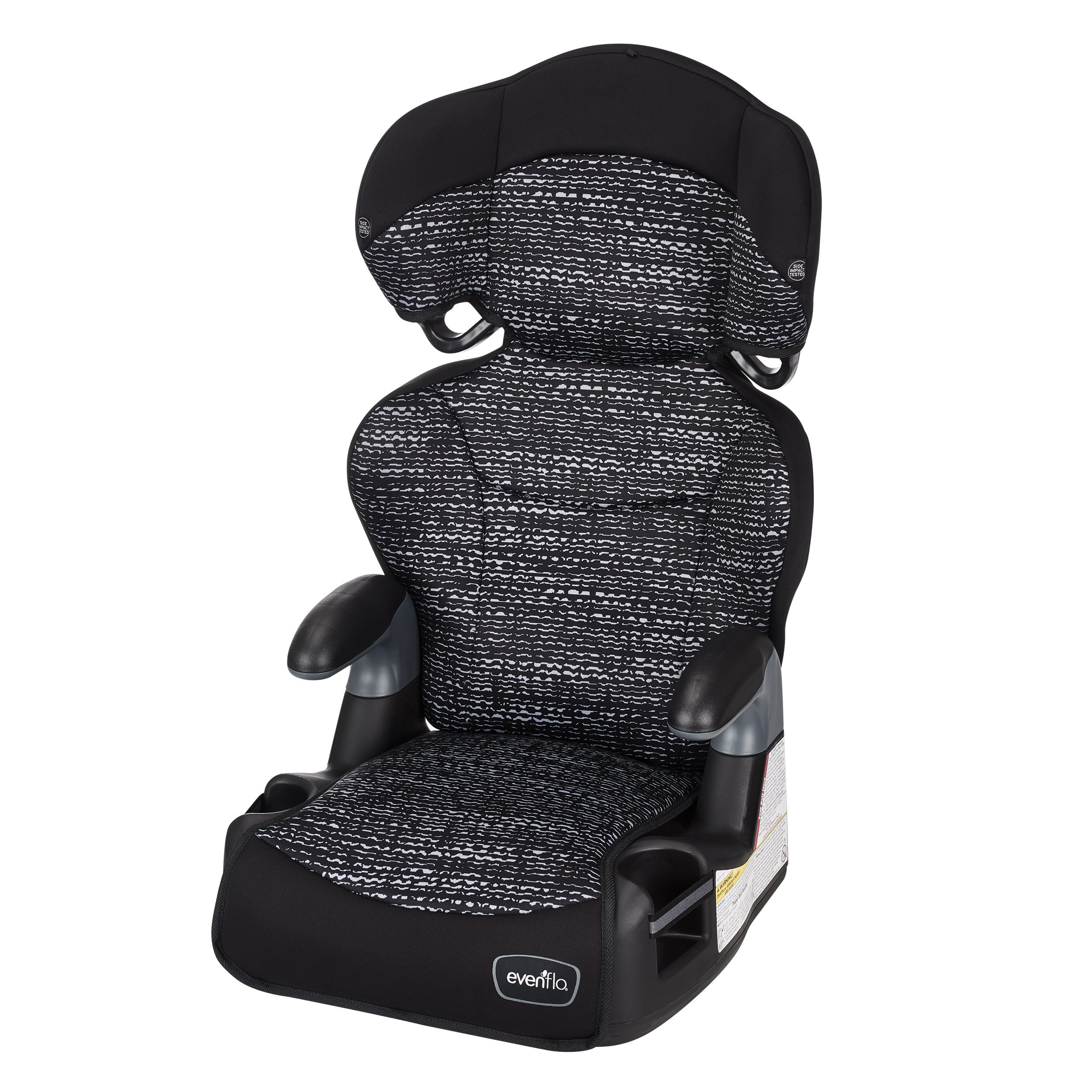 Evenflo Big Kid AMP High Back Booster Car Seat, Static Black by Evenflo