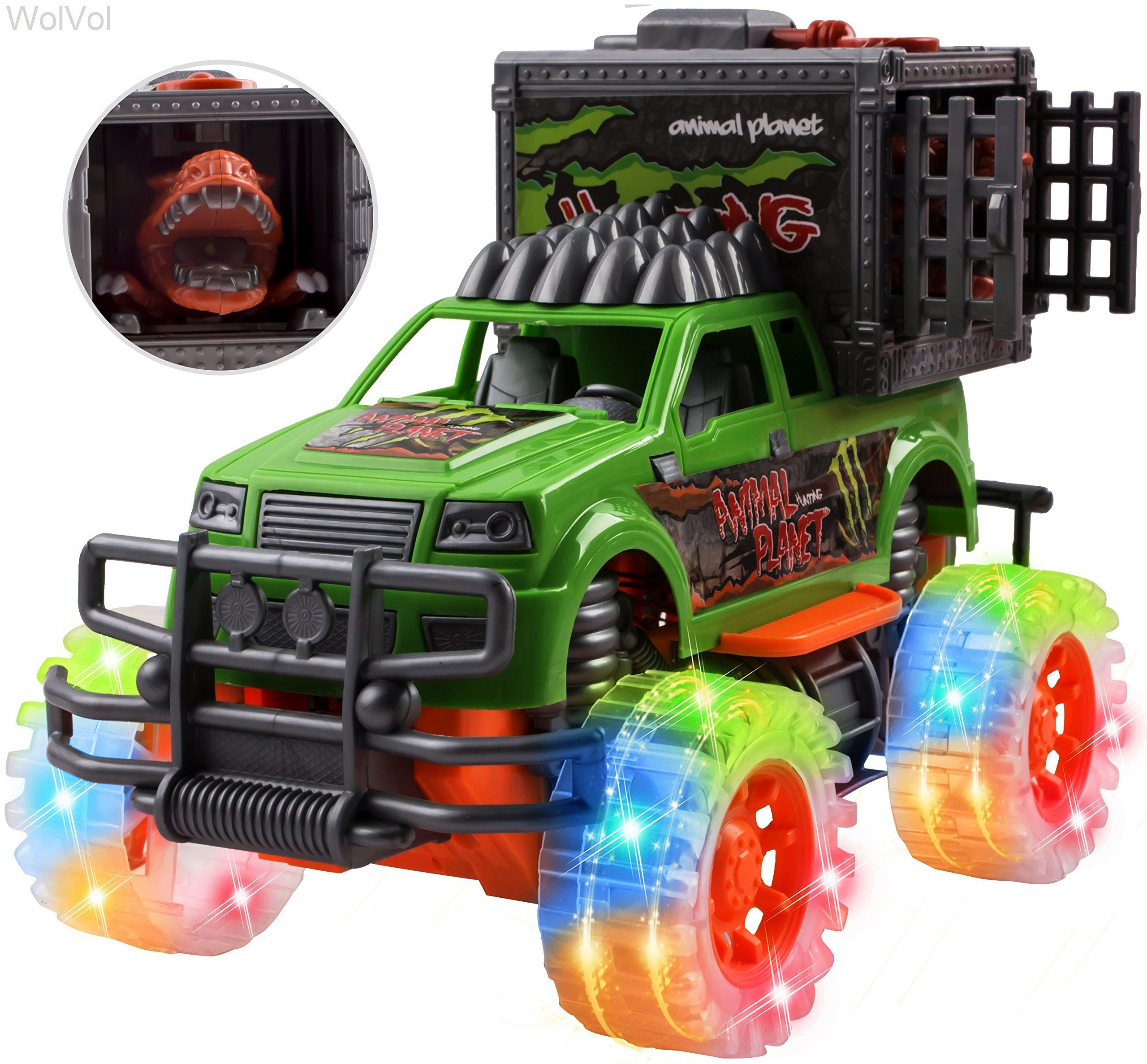 WolVol Off-Road SUV Jungle Dinosaur Car - Friction Powered Dino Cage Truck w/ Lighted Wheels & Sounds - Big Pull Back Action Toy Vehicle for Boys & Girls - Release The Dinosaur from its Cage