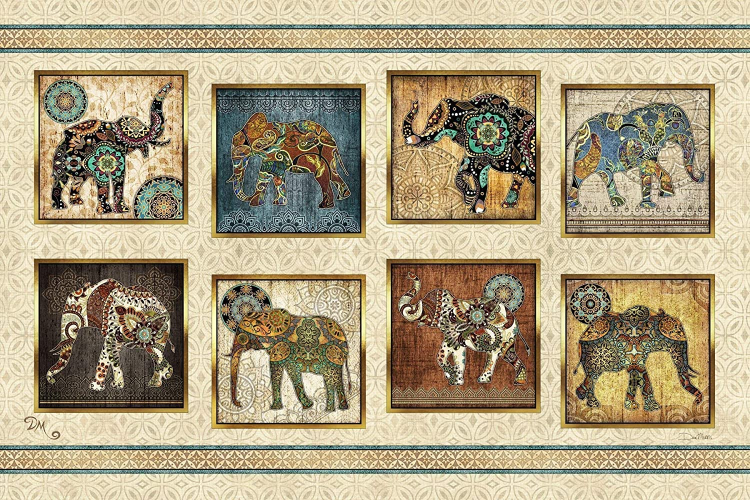 Elephant Panel Tapestry by Artist Dan Morris