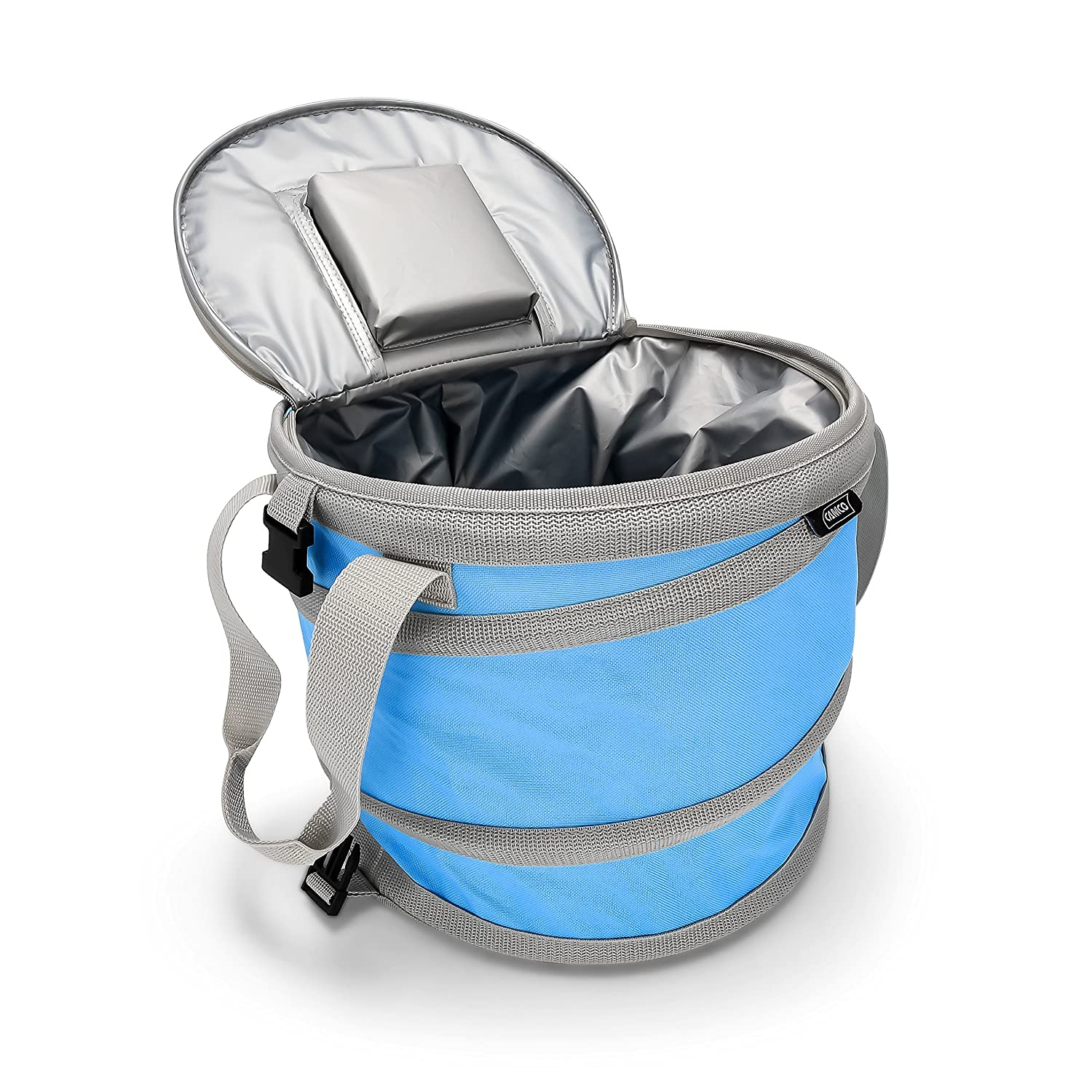 Camco Pop-Up Cooler – Lightweight, Waterproof and Insulated Pops Open for Use and Collapses Flat for Storage Perfect for the Beach, Pool, Camping, Tailgating and Travel – Blue 51995