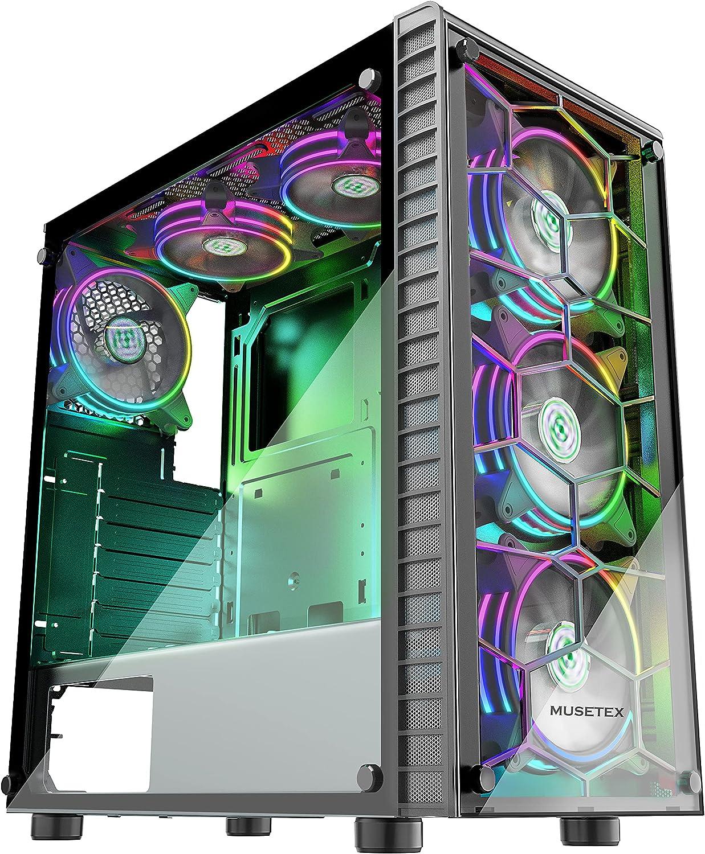 MUSETEX G05S6-HB 6pcs 120mm ARGB Fans & USB3.0 PC Case $76.49 Coupon