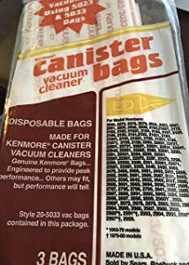 Sears Kenmore Canister Vacuum Cleaner Bags (Pack of 3 Bags)