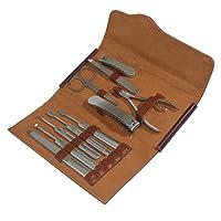 Sa Kay Kit de Manucure Pédicure -10 pièces Outils et Accessoires en Acier Inoxydable Pour Soins des Ongles Trousse en cuir marron