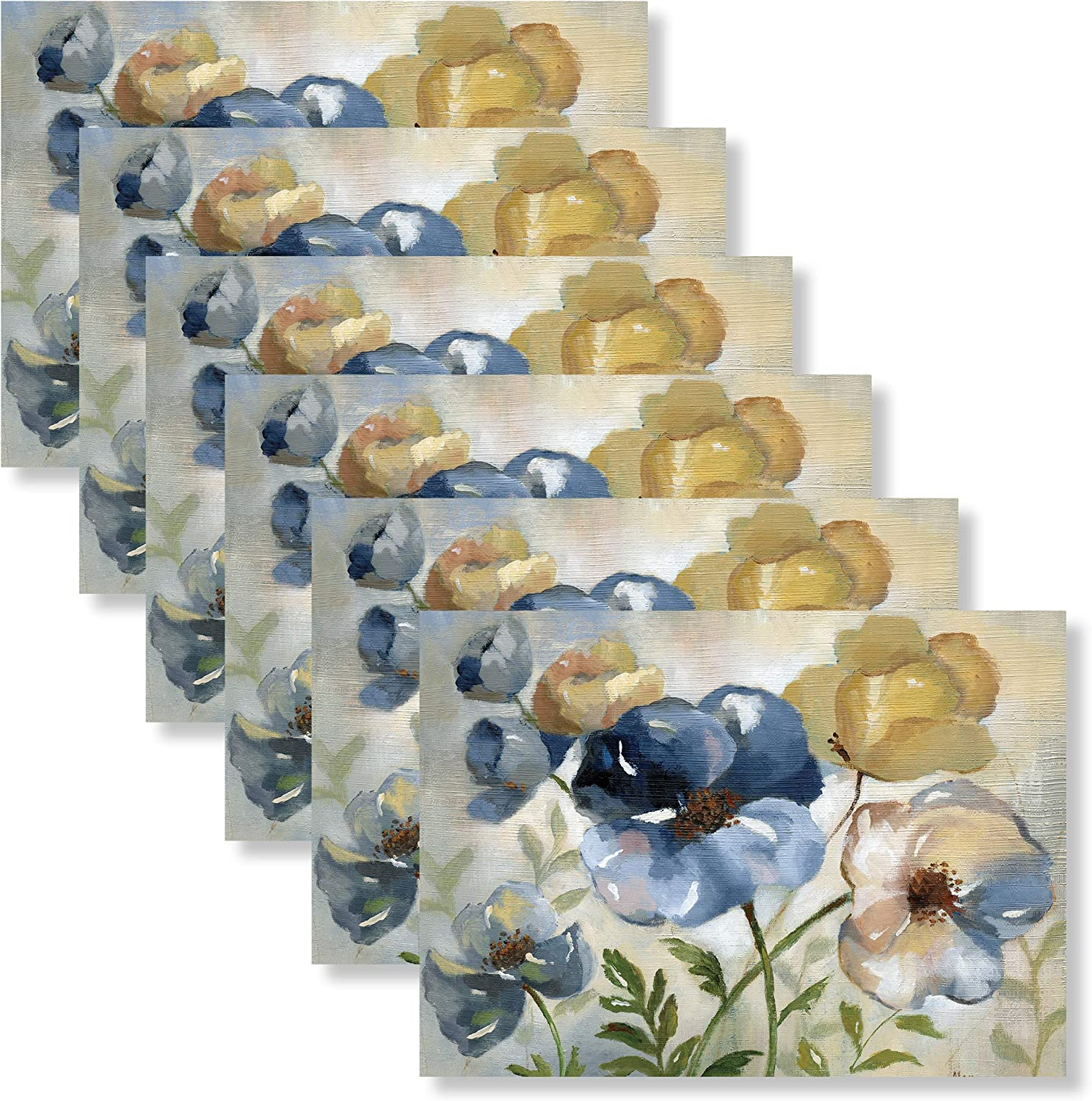 Blissful Living Set of 6 Placemats, Stain Resistant - Decorate Your Kitchen Table with Our Beautiful Rectangle pad placemat (Blue Floral)