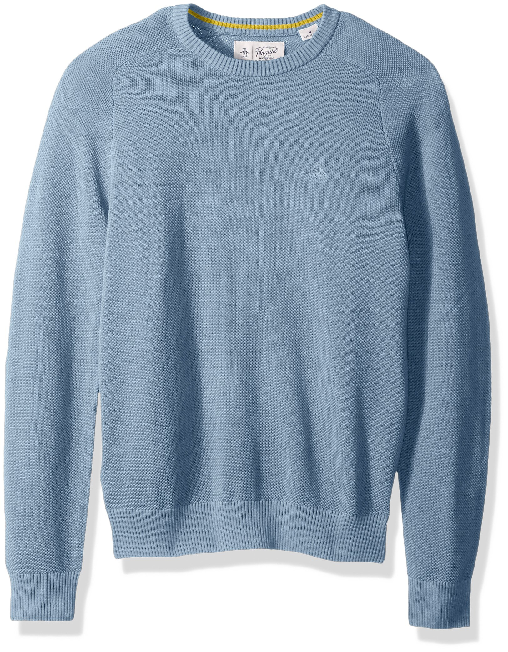 Original Penguin Men's Long Sleeve Honeycomb Pique Sweater, Faded Denim, Medium