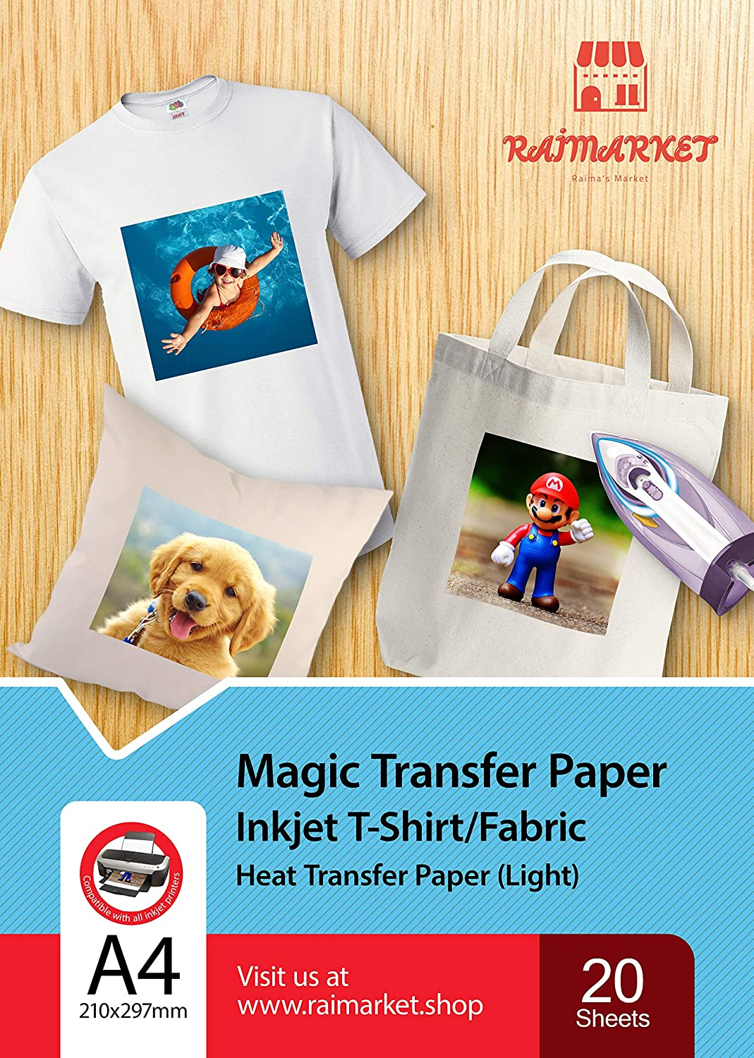 picture regarding Printable Iron on Transfer known as Iron upon Shift Paper for Gentle Cloth (Magic Paper) as a result of Raimarket 20 Sheets A4 Inkjet Iron Upon Paper/T Blouse Transfers Do-it-yourself Cloth Printing,