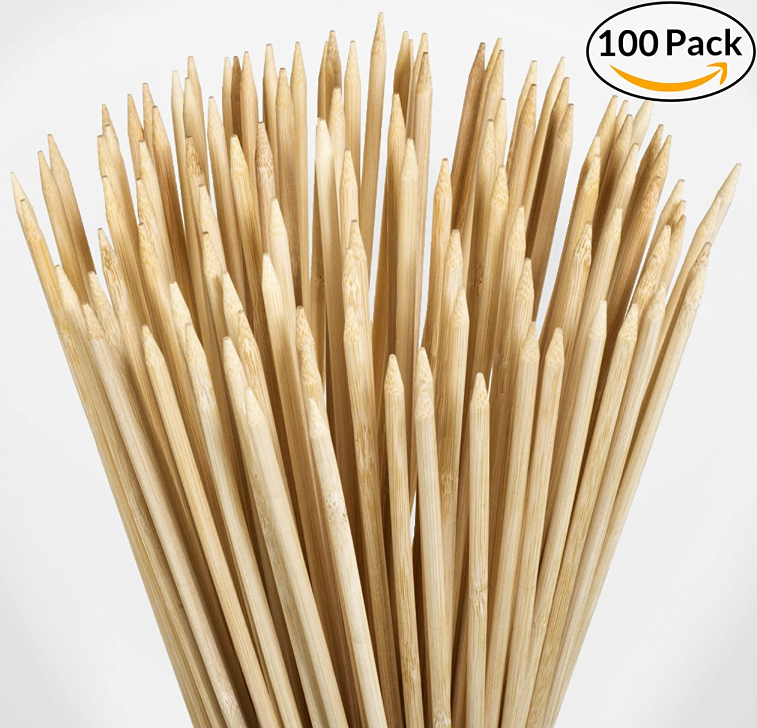 """100 Pack - 36"""" Bamboo Marshmallow Roasting Sticks, Skewers - Hot Dog, Smores, BBQ, Kabobs, Boudin, Sausage. Camp Fire, Camping Stix. STRONGEST ON AMAZON 5.5mm & 3FT LONG - Wooden S'mores Set"""