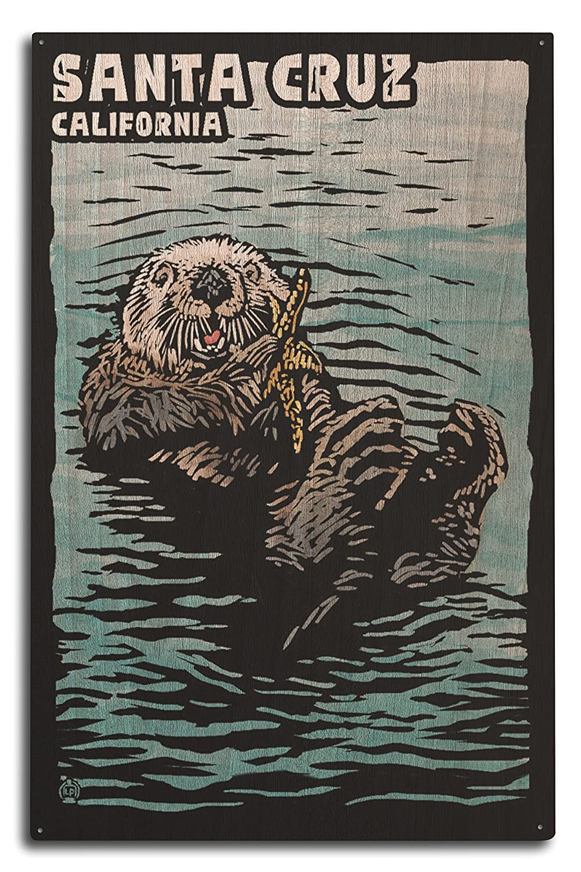 Santa Cruz、カリフォルニア – Sea Otter 10 x 15 Wood Sign LANT-78942-10x15W B07364TDKL  10 x 15 Wood Sign