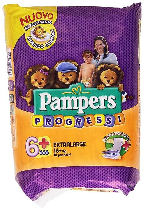 2 opinioni per Pampers Progressi Pannolini Extralarge, Taglia 6+ (16+ kg), 18 Pannolini