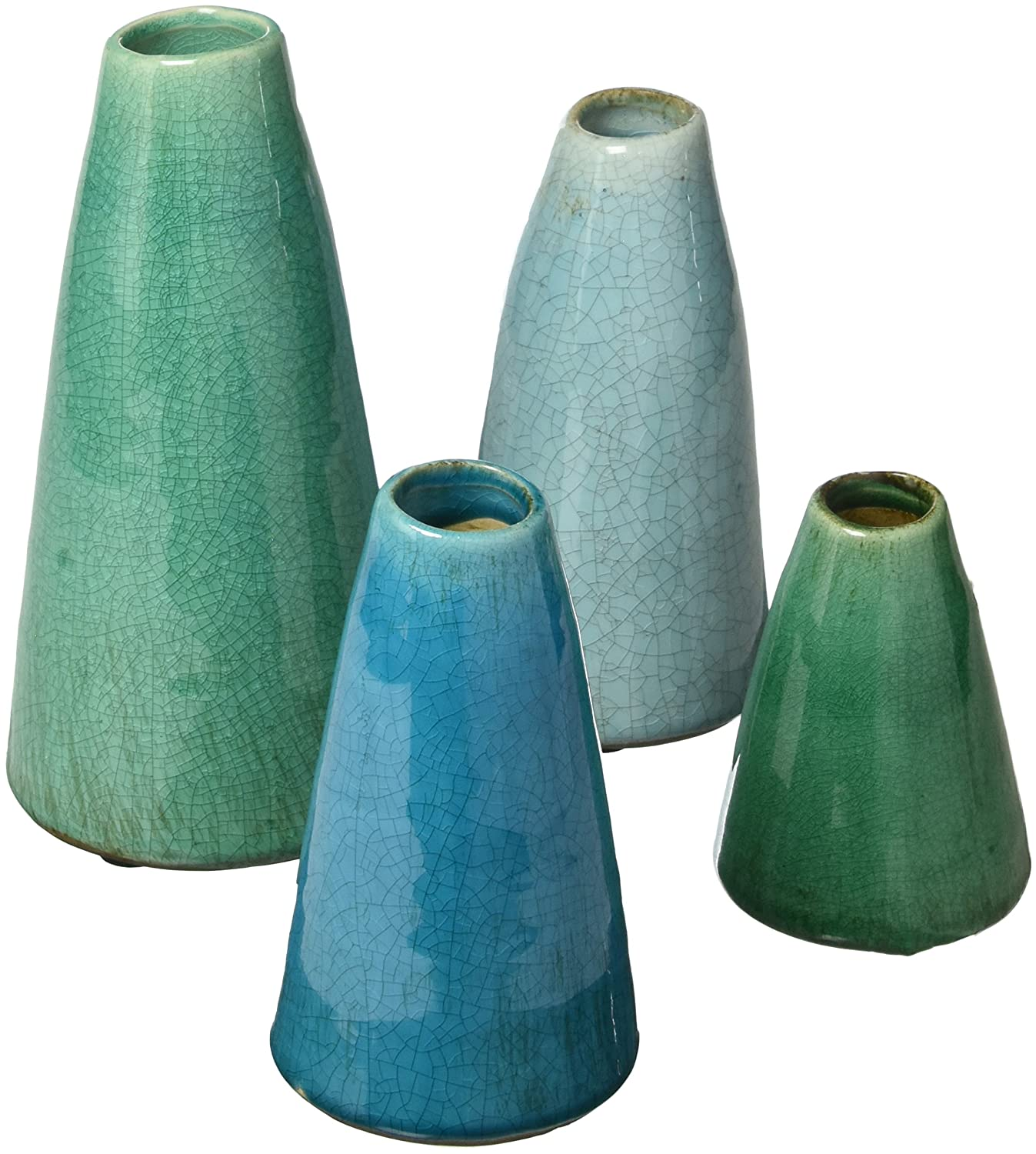 Crackle finish blue and green vase set for French farmhouse decorated spaces.
