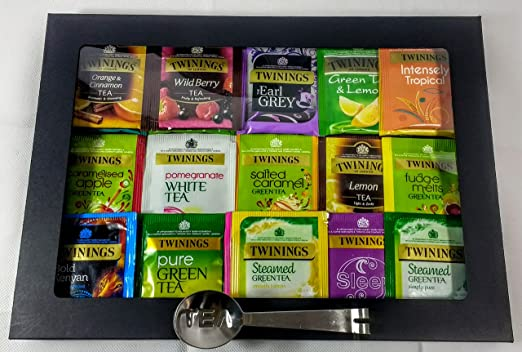 Twinings - Caja de cartón para té, color negro y fruta, té verde y negro. 20 sabores, 50 bolsas de té envueltas con exprimidor de bolsitas de té de acero inoxidable.: Amazon.es: