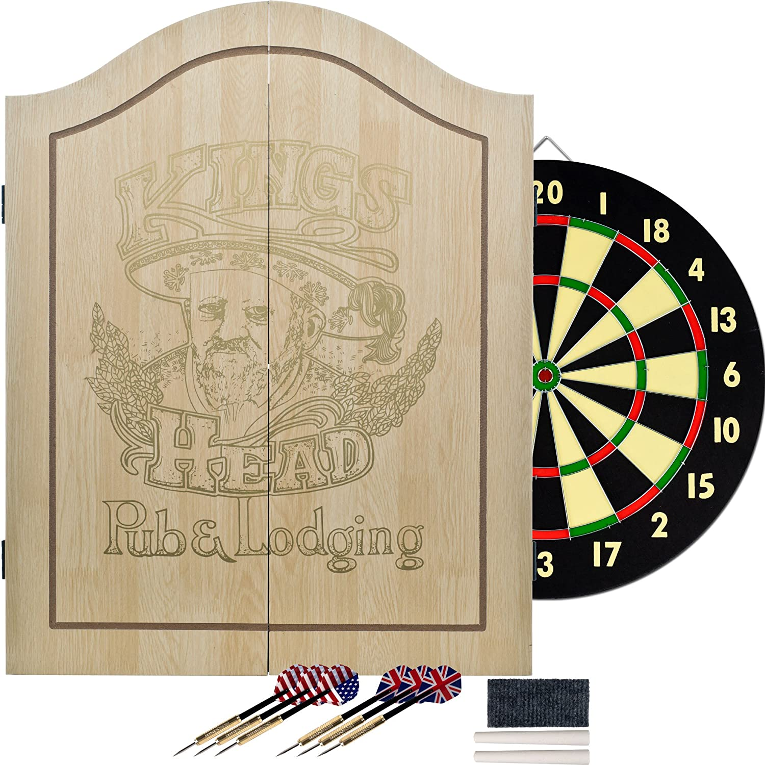 Amazon.com : King's Head Light Wood Dartboard Cabinet Set : Dart ...