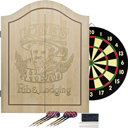 Awesome Kings Head Light Wood Dartboard Cabinet Set Home Interior And Landscaping Dextoversignezvosmurscom