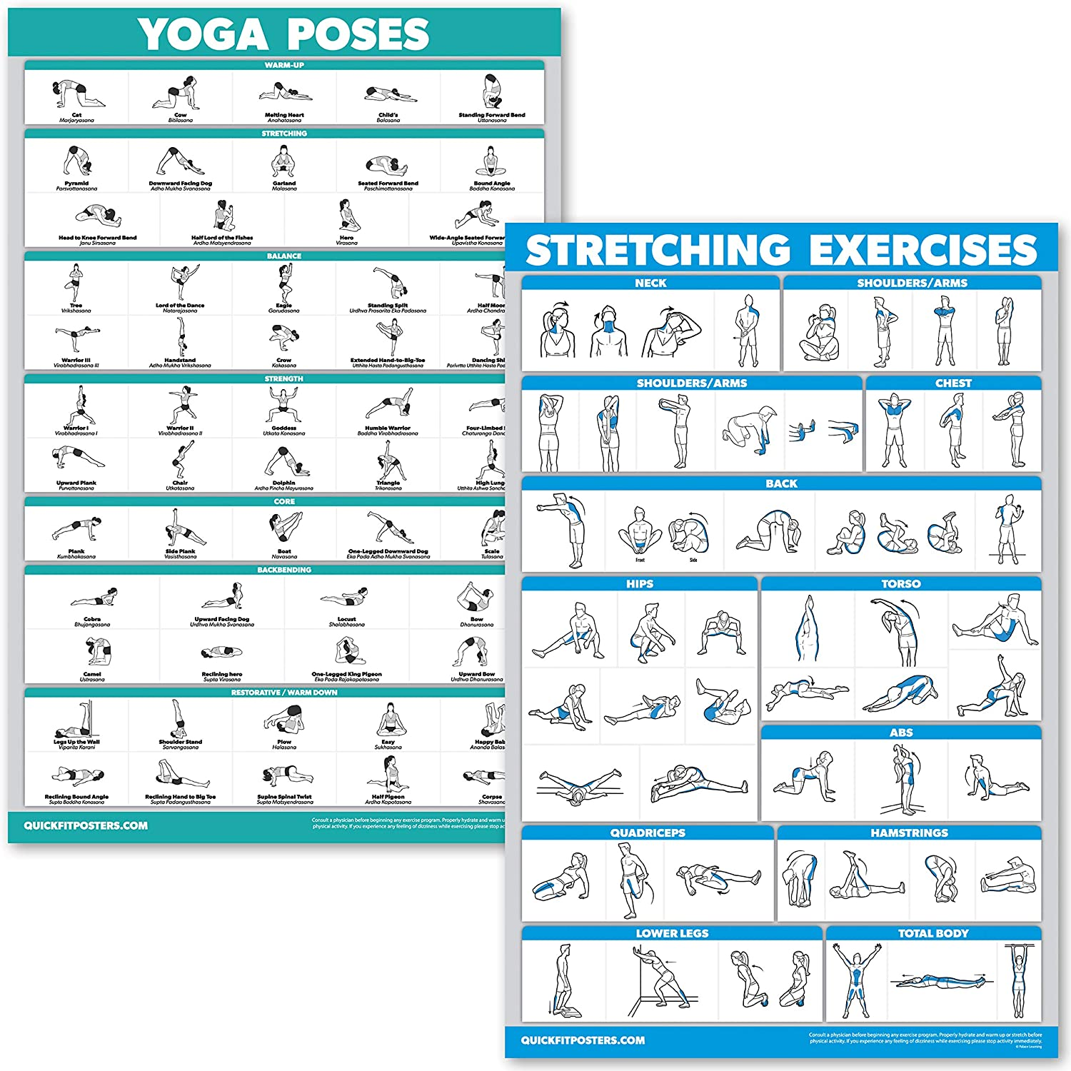 QuickFit Yoga Poses and Stretching Exercise Poster Set - Laminated 38 Chart  Set - Yoga Positions & Stretching Workouts