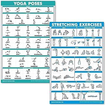 QuickFit Juego de pósteres de Yoga y Ejercicios de Estiramiento – Juego de 2 Tablas laminadas – Posiciones de Yoga y Ejercicios de Estiramiento