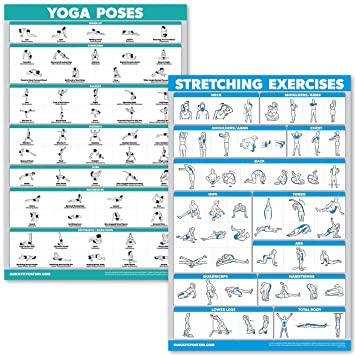 image about Stretching Charts Free Printable referred to as QuickFit Yoga Poses and Stretching Health and fitness Poster Fixed - Laminated 2 Chart Fastened - Yoga Employment Stretching Workout routines
