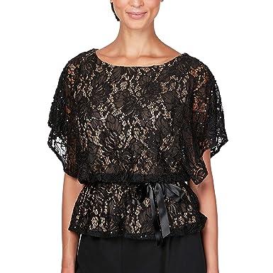 d6664f0e79 Alex Evenings Women's Plus Size Lace Flutter Sleeve Blouson Blouse with Tie  Belt, Black/