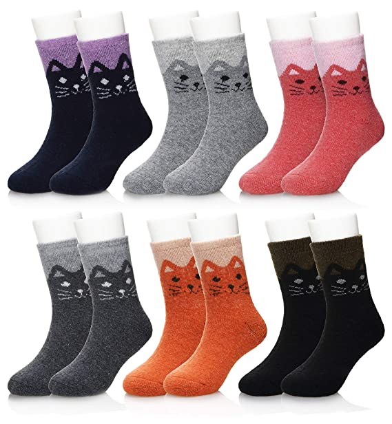 Eocom 6 Pairs Children s Winter Warm Wool Socks Kids Boys Girls Socks (1-3 0084fbea556d