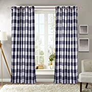 Decotex 1 Piece Plaid Buffalo Checkered Grommet Top Window Curtain Drape Panel or Valance (53  X 84 , Navy Blue)
