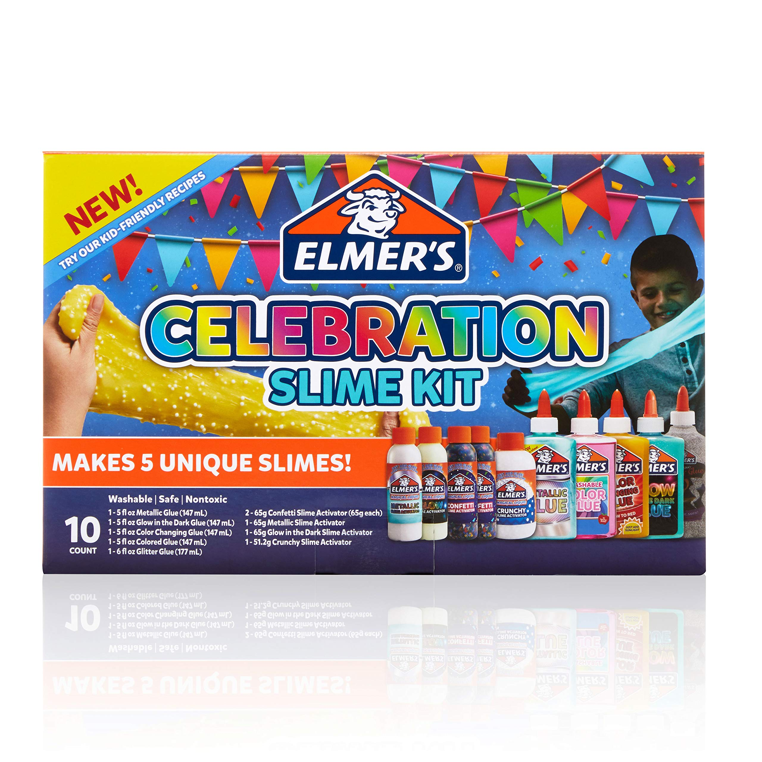 Elmer'S Celebration Slime Kit | Slime Supplies Include Assorted Magical Liquid Slime Activators and Assorted Liquid Glues, 10 Count by Elmer's