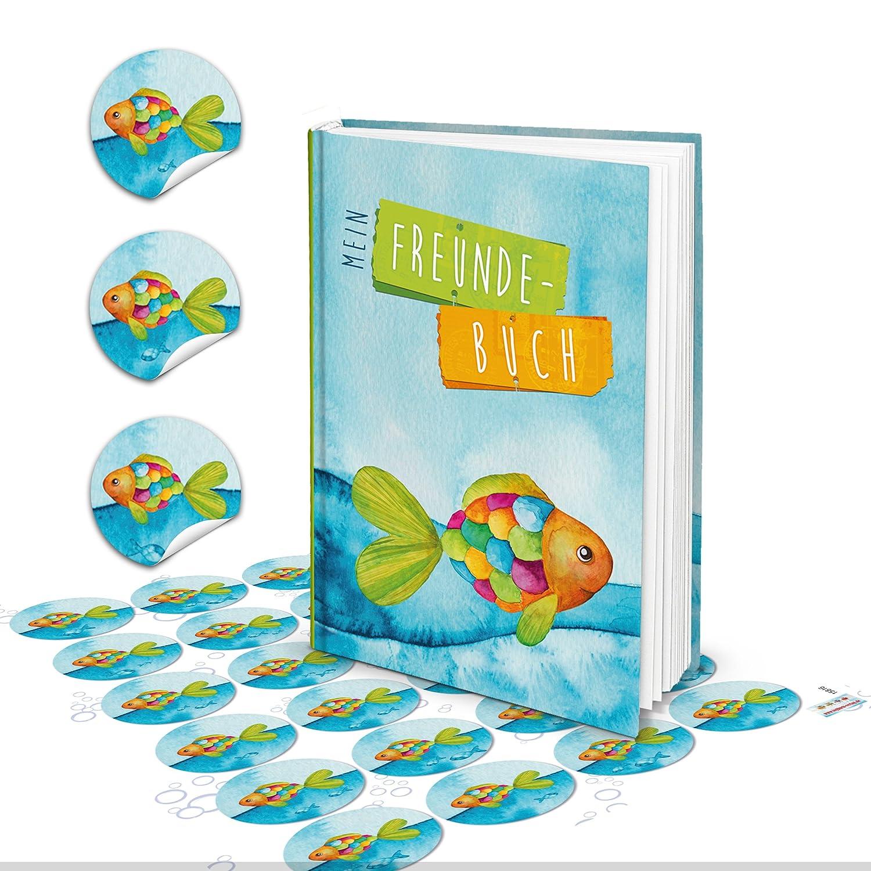 Set de cadeau Livre amis amitié Livre DIN A5pour enfants Arc-en-ciel Poisson martitim Poissons Bleu turquoise + 24autocollants–Cadeau Anniversaire communion pour jeunes filles