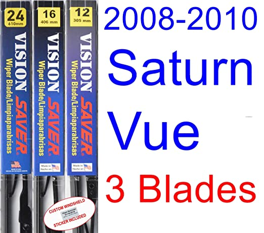 Amazon.com: 2008-2010 Saturn Vue Replacement Wiper Blade Set/Kit (Set of 3 Blades) (Saver Automotive Products-Vision Saver) (2009): Automotive