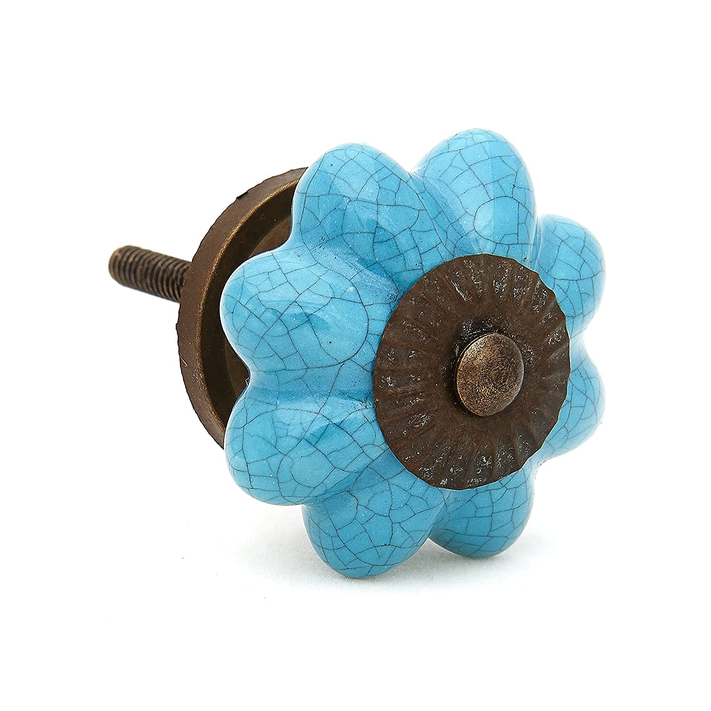 Turquoise Crackle Decorative Ceramic Dresser Drawer, Cabinet or Door Pull Knobs - Pack of 12