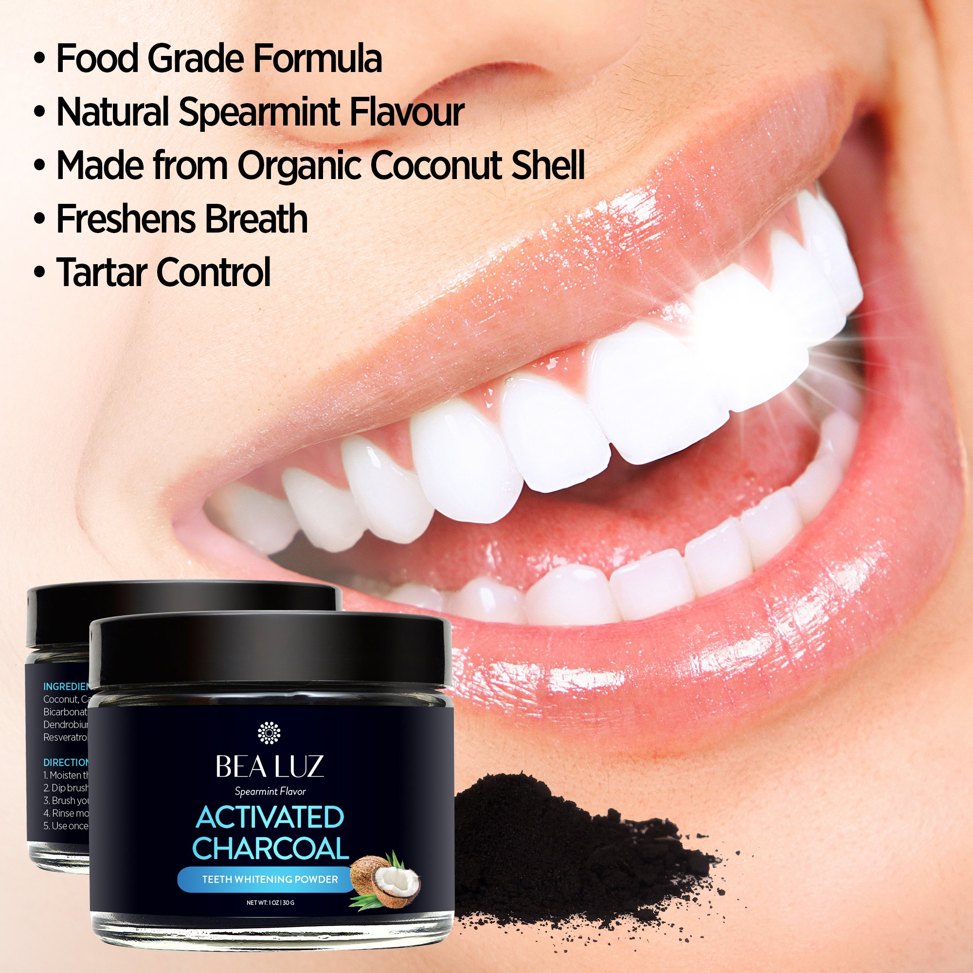 Teeth Whitening Activated Charcoal Powder – From Organic Coconut Shell and Food Grade Formula – All Natural Spearmint Flavor Tooth Whitener (5G) by Gemmaz (Image #4)