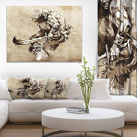 Amazon Com Warrior Fighting Tattoo Art Abstract Portrait Canvas Print Posters Prints