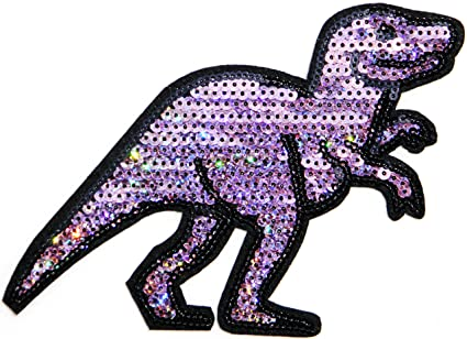 Color Big Dinosaur Jurassic Park Lost World Sparkly Sequin Shine Shiny Patch Sew Iron On Embroidered Applique