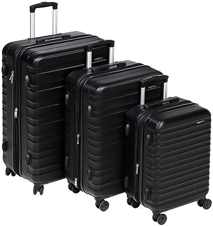 214d3a1a5464 AmazonBasics Hardside Luggage Suitcase - 3 Piece Set (55 cm, 68 cm, 78 cm),  Black