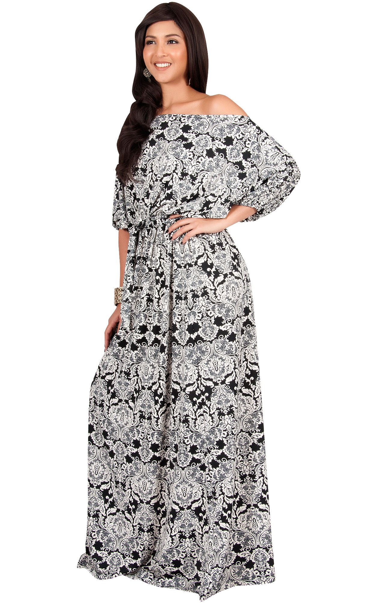 e8ef2057dafd ... One Off Shoulder Print Casual Flowy 3 4 Short Sleeve Summer Cute Boho  Bohemian Sexy Gown Gowns Maxi Dress Dresses