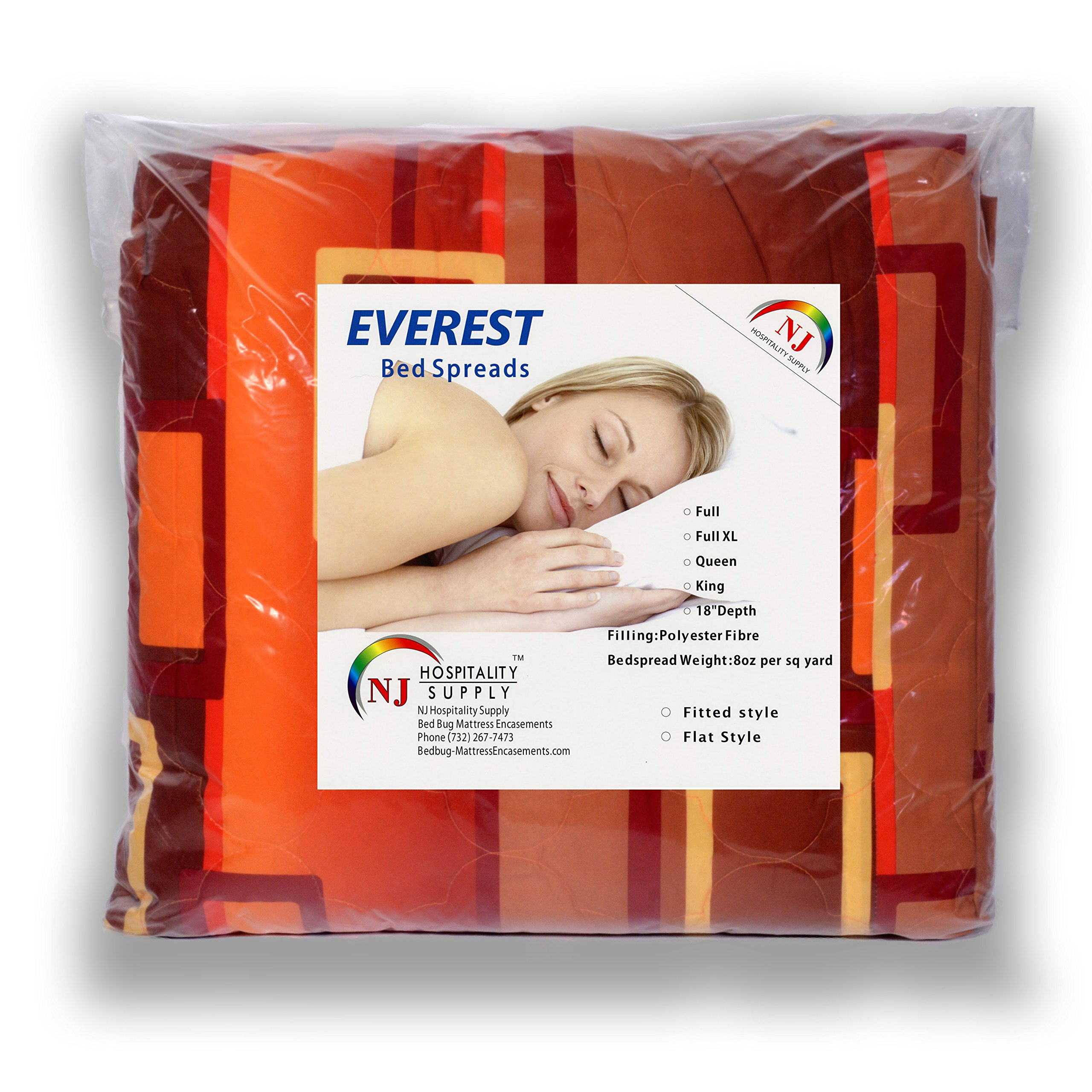 Everest Supply Quilted Bedspread Designed for Hotel/Motel-Resort-Air B&B & Home Over Sized 21'' Fall on Each Side 100% Polyester Fabric-Modern Print-Orange-WaterFall Style(Twin 81x110-4.7 lbs)