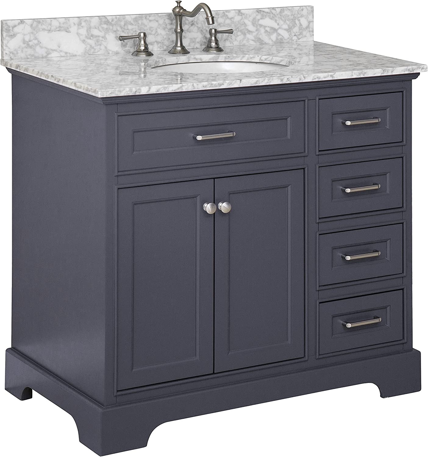 Aria 36 Inch Bathroom Vanity Carrara Charcoal Gray Includes Charcoal Gray Cabinet With Authentic Italian Carrara Marble Countertop And White Ceramic Sink Home Improvement Amazon Com