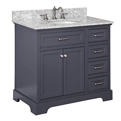 Aria 36u0026quot; Bathroom Vanity (Carrara/Charcoal Gray)