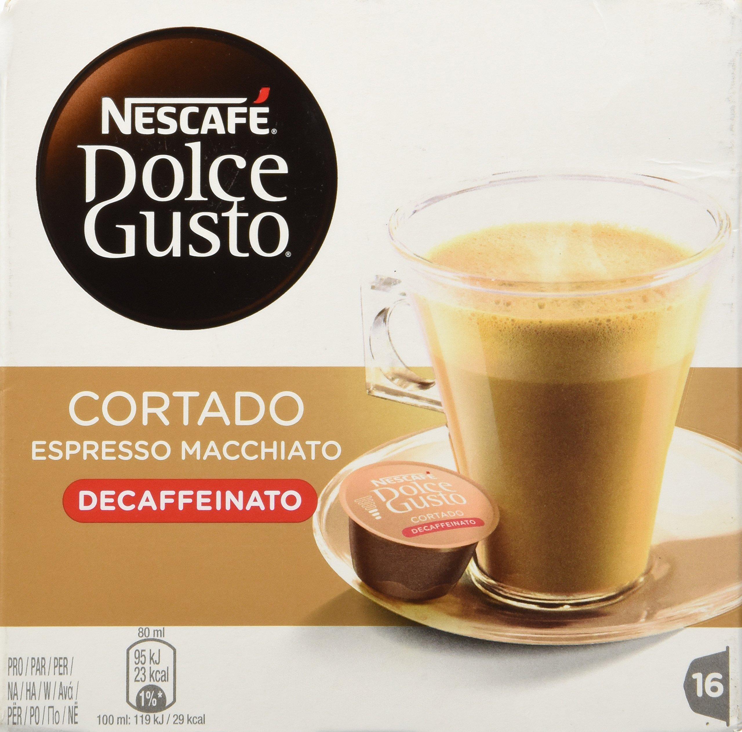 Nescafe Dolce Gusto - Cortado Decaffeinato - 16 Decaf Coffee Capsule