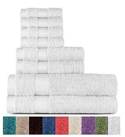 Welhome 100% algodón conjunto 8 pieza toalla (blanco); 2 toallas de baño