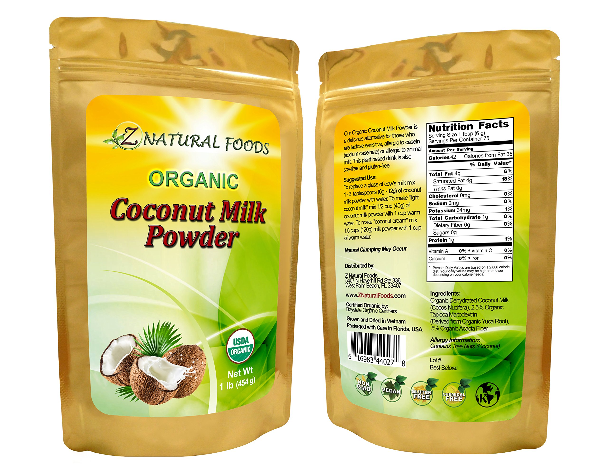 Z Natural Foods - Organic Coconut Milk Powder - Kosher, Vegan, Fresh, Gluten Free, All-Natural, Dairy Free, Non-GMO, Keto, Paleo Diet Friendly (1 lb)