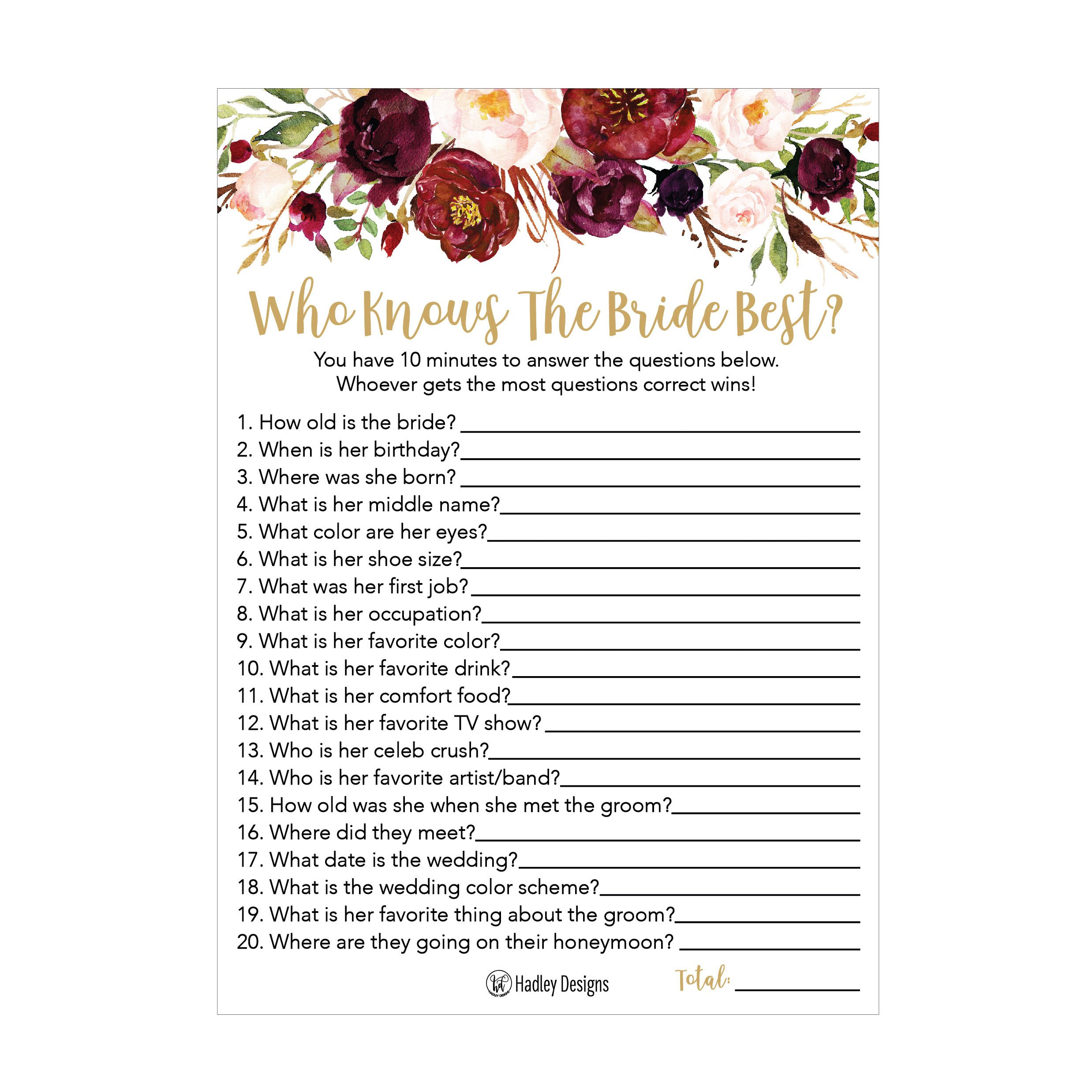 25 Cute Flowers How Well Do You Know The Bride Bridal Wedding Shower or Bachelorette Party Game Floral Who Knows The Best Does The Groom Couples Guessing Question Set of Cards Pack Printed Engagement
