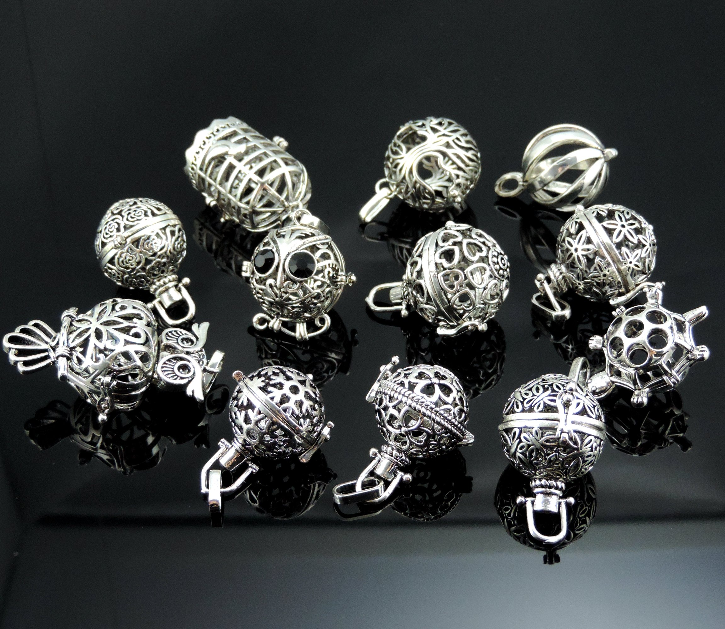 Yaoding 12pcs Mix Hollow Bird Cage Owl Tree Tortoise Ball Locket Lava Stone Perfume Fragrance Essential Oil Aromatherapy Diffuser Pendant Necklace by Yaoding (Image #4)