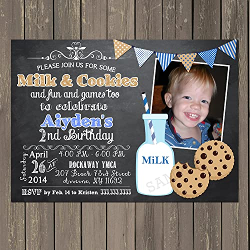 Amazon Milk And Cookies Birthday Invitation Chalkboard