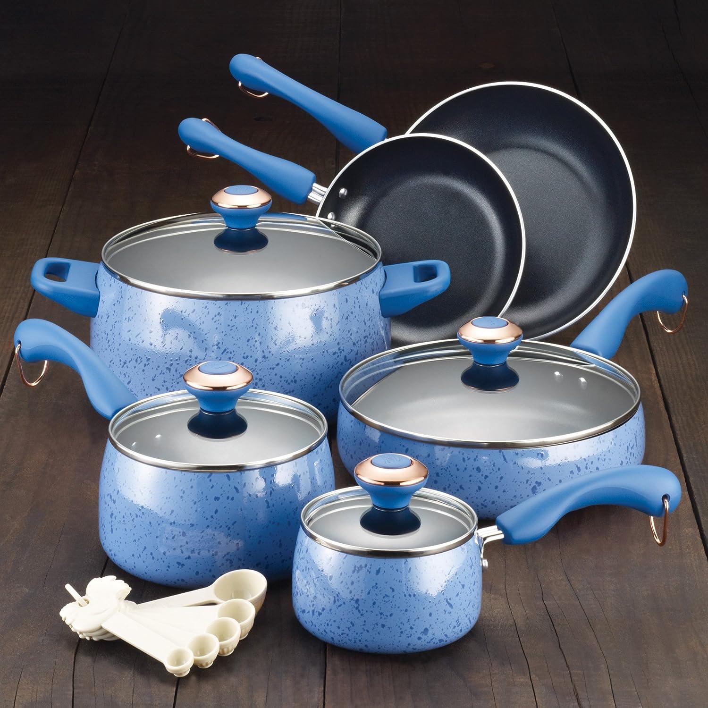 Paula Deen Signature Porcelain Nonstick 15-Piece Cookware Set, Blueberry Speckle