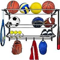 Lynk Deportes Almacenamiento rack con ganchos ajustables (–Sports Gear–Negro/Plateado