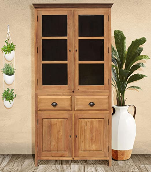 Amazon.com: Recycled Teak Bali Cupboard, Curio Cabinet, 2 ...