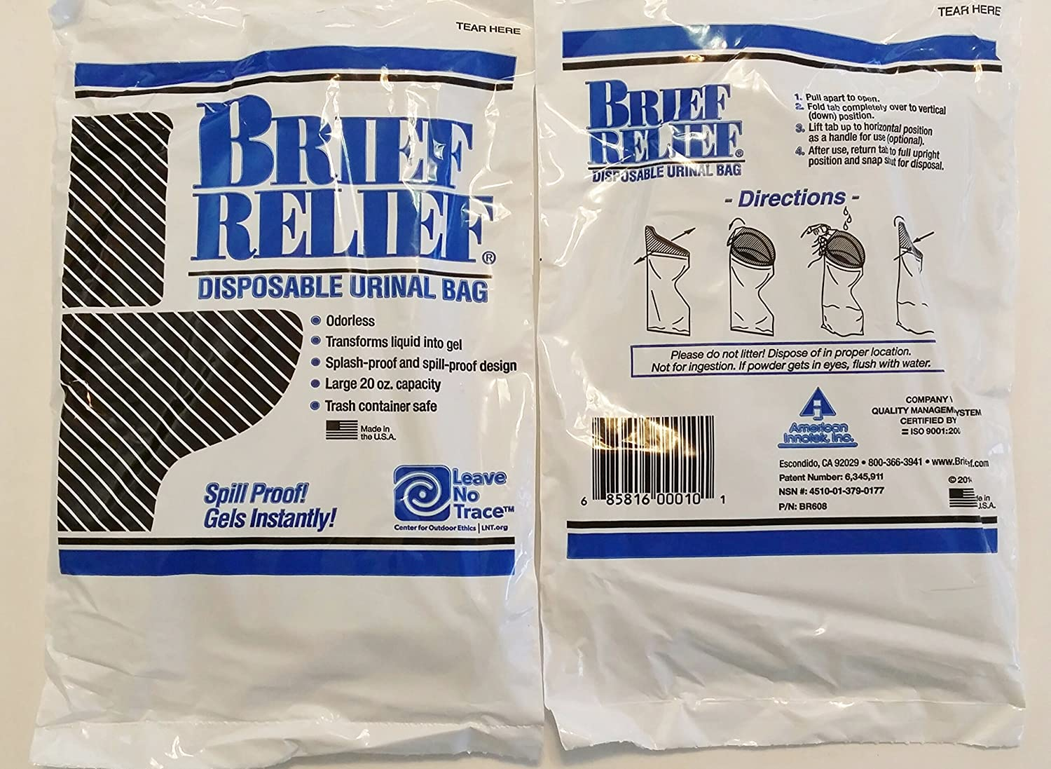 Men and Women Brief Relief Disposable Urinal Bag 10 Pack