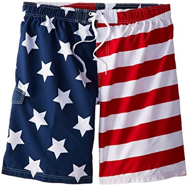 432a05187fe Kanu Surf Men's Big American Flag Extended Size Swim Trunks: Amazon.co.uk:  Clothing
